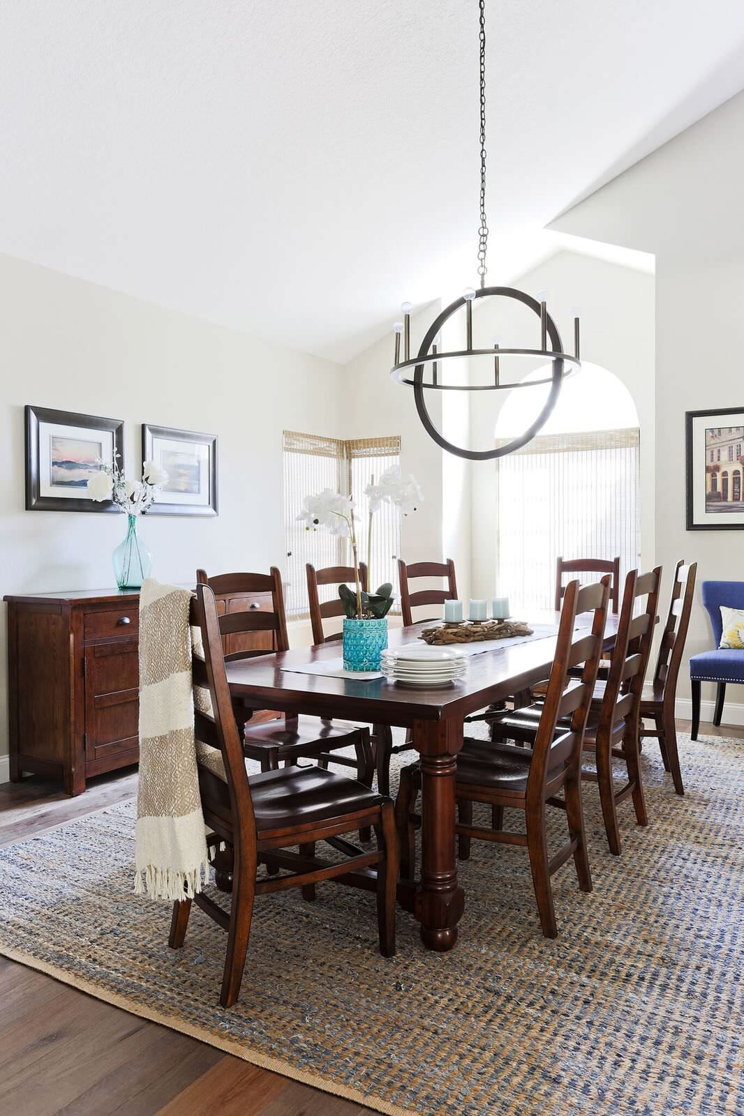 Transitional Open Concept Kitchen Dining Room and Family Room