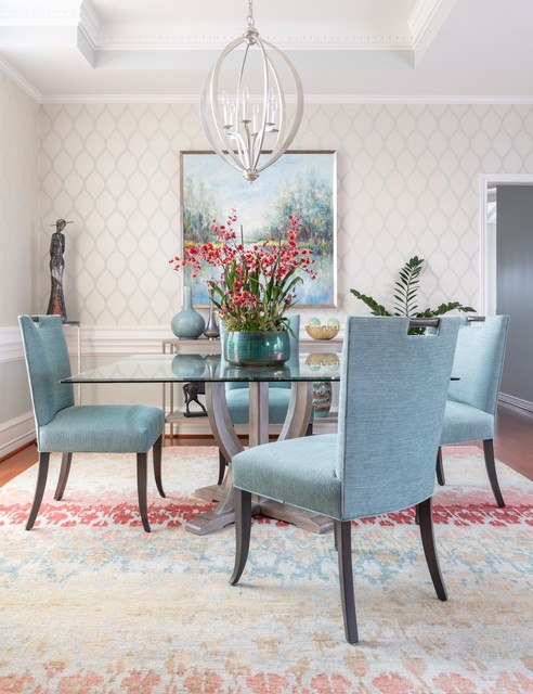 Elegant dining room photo in Dallas with multicolored walls and no fireplace