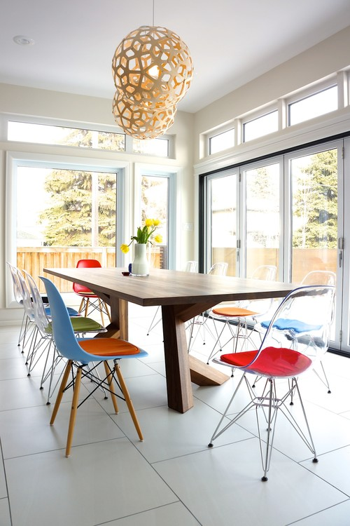 Transparent Eames Eiffel chair with cushions - Nee from Edmonton