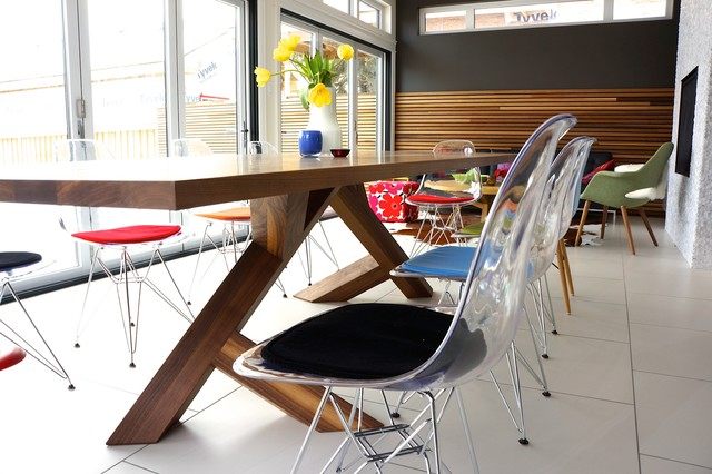 Transparent Eames Eiffel chair with cushions - Nee from Edmonton - Midcentury - Dining Room ...