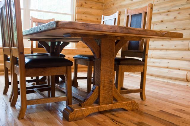 trestle base reclaimed wood dining table farmhouse