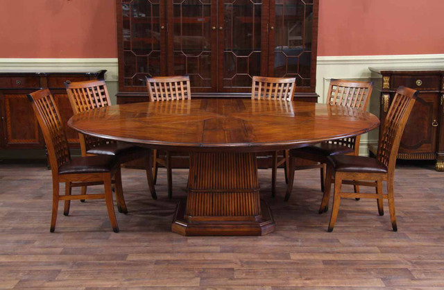 Tropical Round Table  Solid Walnut Expandable Round Dining Table Tropical  Dining Room
