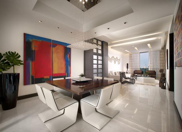 Trump tower miami apartment contemporary dining room for Dining room false ceiling designs