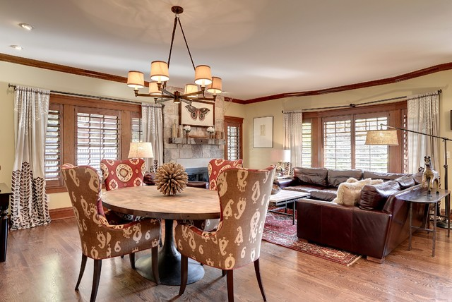 Tudor Revival Combined Living Dining Area Craftsman