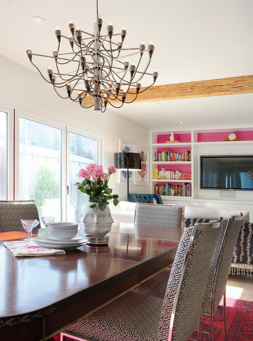 contemporary dining room Color of the Month: Decorating with Pink