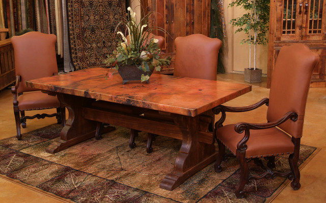 Tuscan Copper Trestle Dining Table Farmhouse Dining