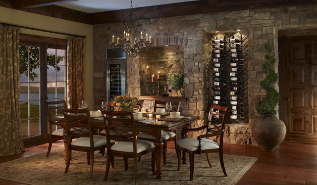 Tuscan Dining Room With VinoWall