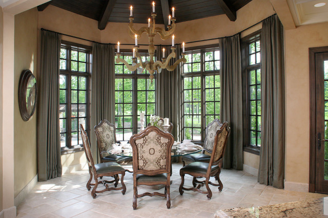 Tuscan Dining Room With Walnut Beamed Ceiling And