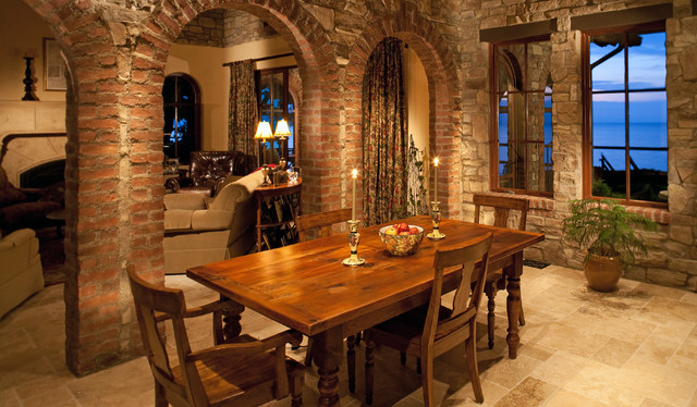 Tuscan Stone Dining Room traditional-dining-room