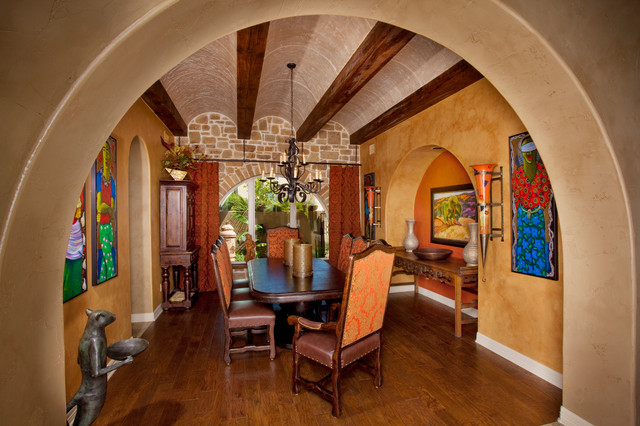 Beau Tuscan Dark Wood Floor Enclosed Dining Room Photo In Austin With Yellow  Walls