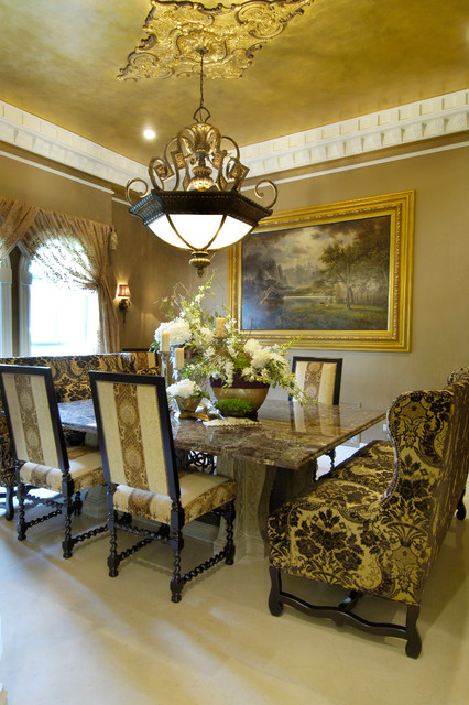 Tuscan style home mediterranean dining room tampa for Tuscan dining room ideas
