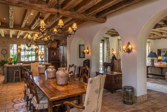 Tuscan Style Kitchen And Dining Room Rustic Dining