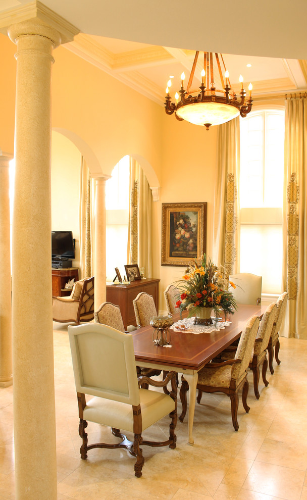 Great room - large mediterranean marble floor great room idea in New York with no fireplace and beige walls