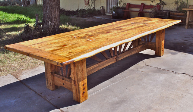 Twelve Foot Pine Table Rustic Dining Room