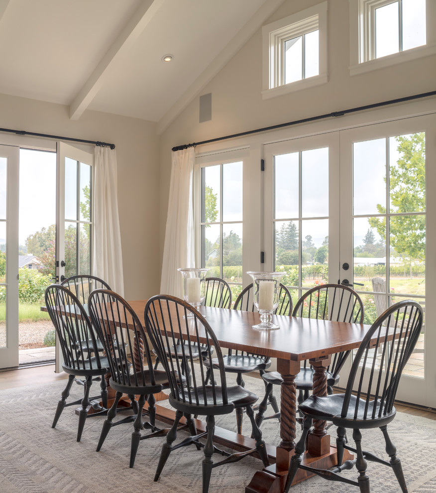 Inspiration for a cottage dining room remodel in San Francisco with gray walls and no fireplace