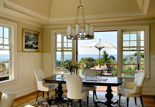 two lights residence beach style dining room portland maine by whitten architects. Black Bedroom Furniture Sets. Home Design Ideas
