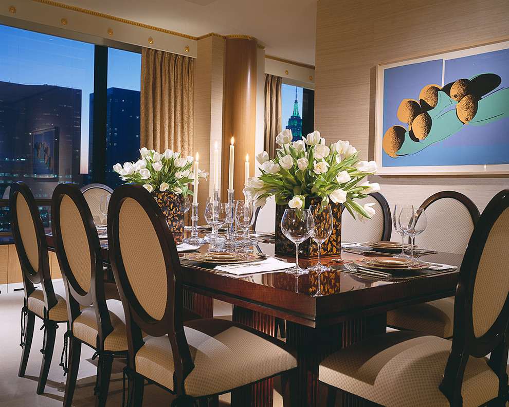 Large trendy carpeted and beige floor dining room photo in New York with beige walls
