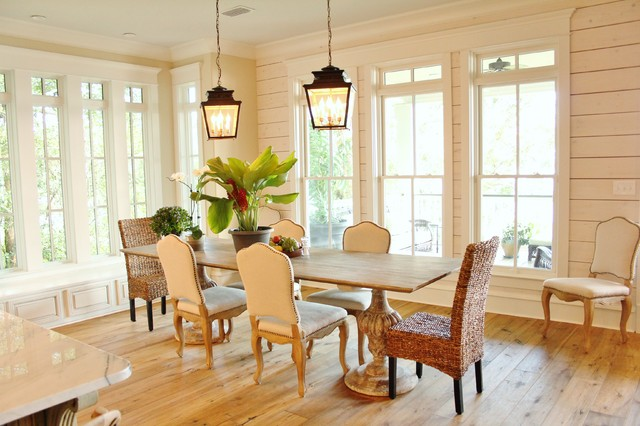 Light wood floor kitchen/dining room combo photo in Other with beige walls and no fireplace