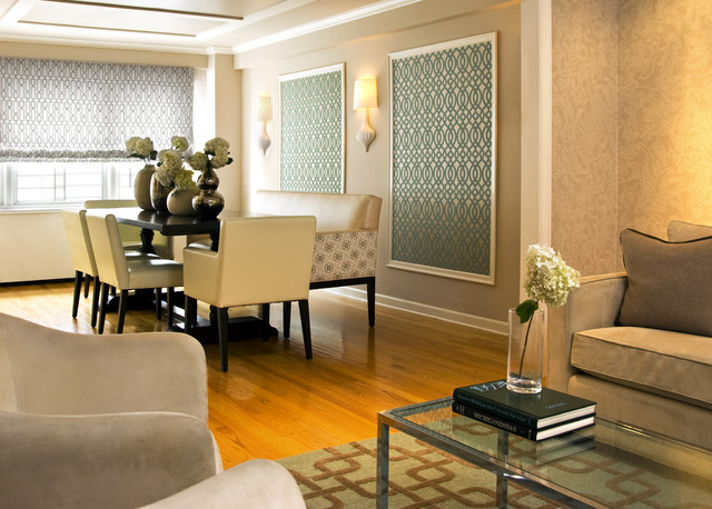 Example Of A Trendy Medium Tone Wood Floor Dining Room Design In New York  With Beige Part 67