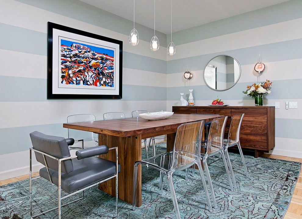 Mid-sized transitional light wood floor enclosed dining room photo in New York with multicolored walls
