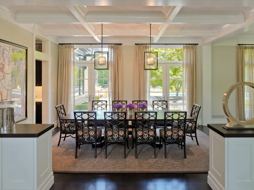 Dining room - victorian dark wood floor dining room idea in San Francisco with beige walls
