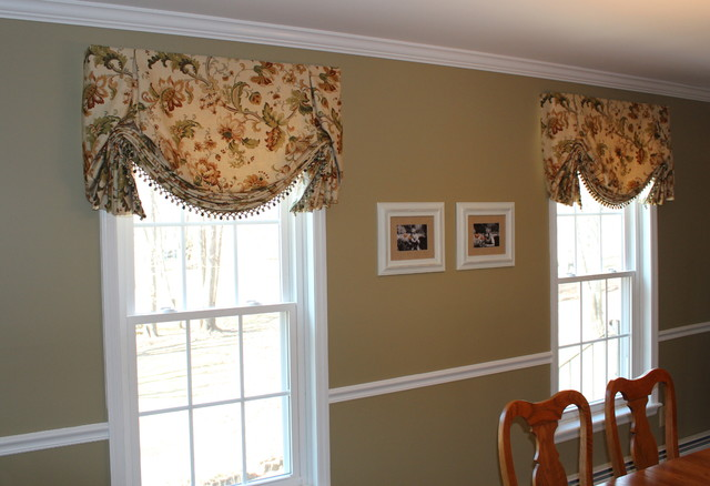 valances top treatments traditional dining room