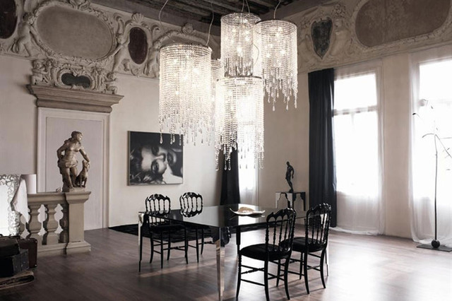 Beau Venezia Crystal Chandelier By Cattelan Italia Contemporary Dining Room