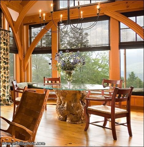 Vermont Timber Frame Residence farmhouse-dining-room
