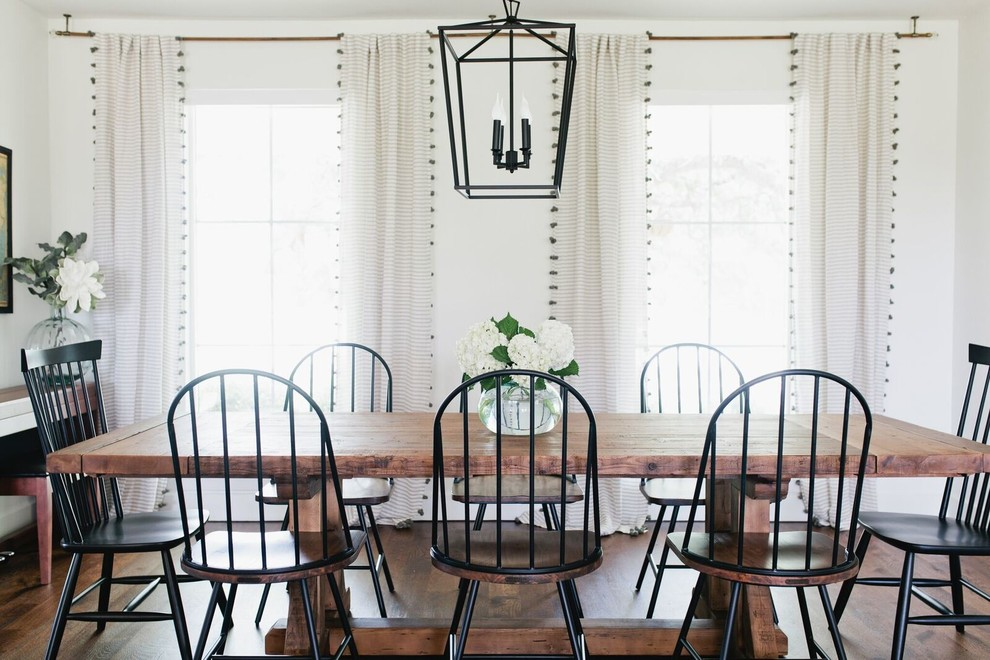 Enclosed dining room - large country dark wood floor and brown floor enclosed dining room idea in Dallas with white walls and no fireplace