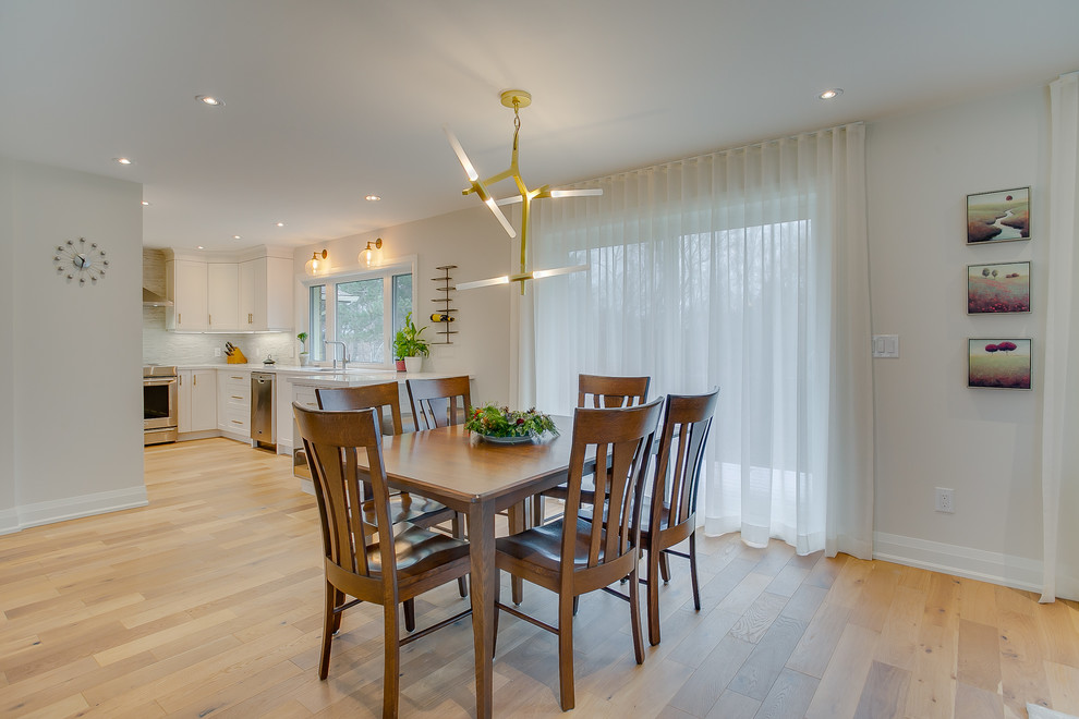 Inspiration for a huge transitional plywood floor kitchen/dining room combo remodel in Toronto with white walls
