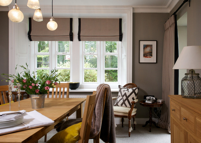 Ornate Dining Room Photo In Other With Gray Walls