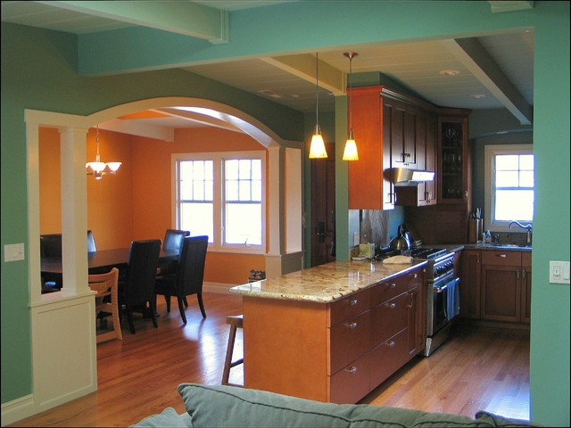 view of new dining room, entry hall, and kitchen, from central room