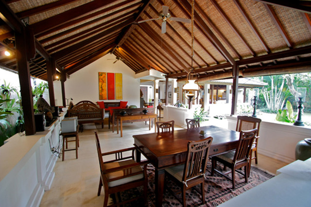 Villa om in bali tropical dining room hawaii by for Tropical dining room ideas