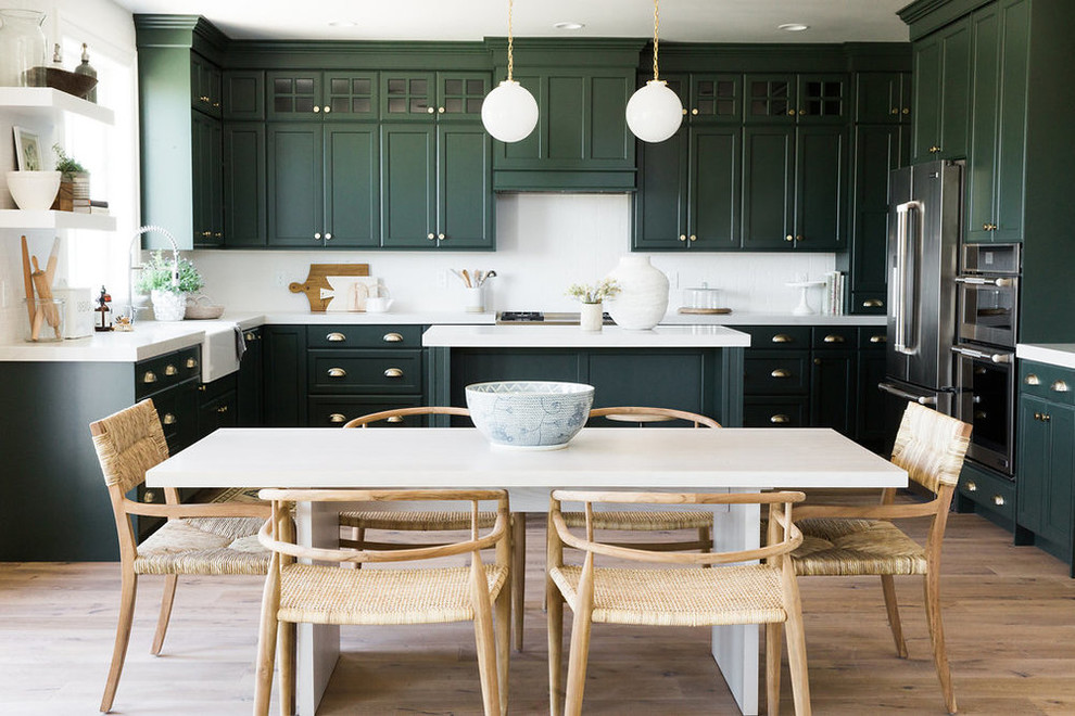 Example of a large transitional light wood floor kitchen/dining room combo design in Salt Lake City