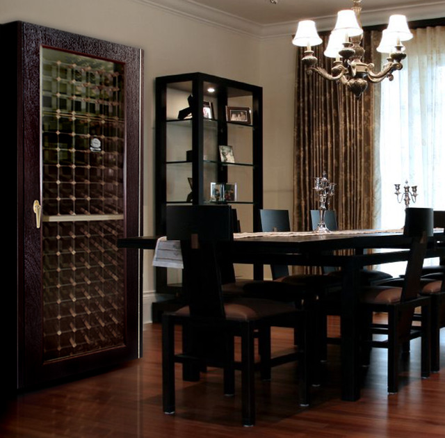 dining room with 200wcg model economy wine cabinet with glass door