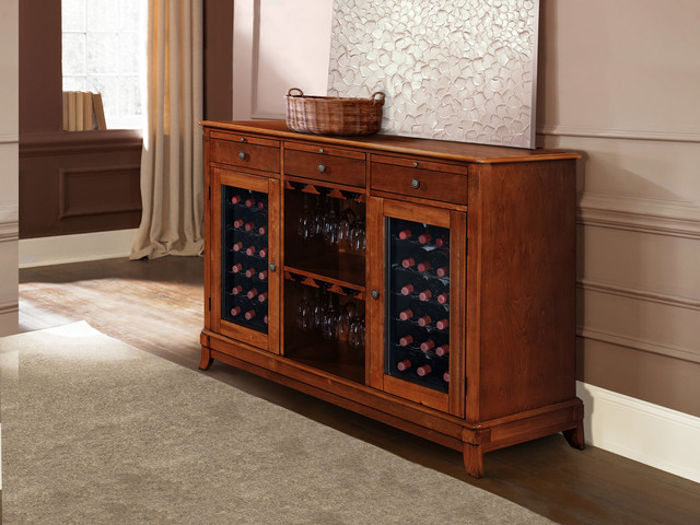 Living Room with Cava 36-Bottle Wine Credenza - Traditional - Living Room - los angeles - by ...