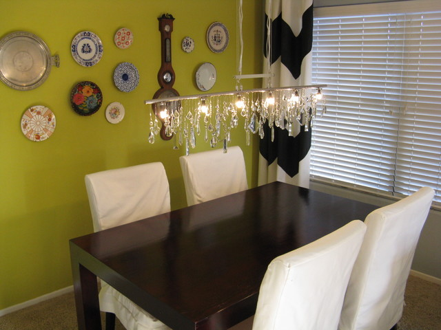 Perfect Vintage Crystal DIY Linear Chandelier With Plate Wall Eclectic Dining Room