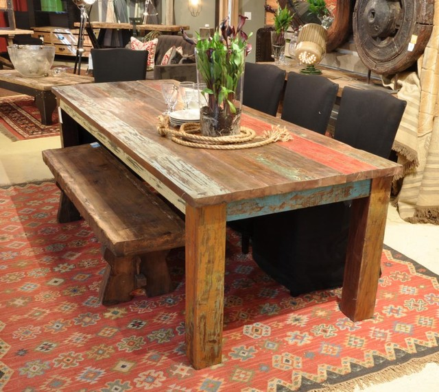 Vintage multicolor 107 dining table rustic dining for Dining room furniture stores