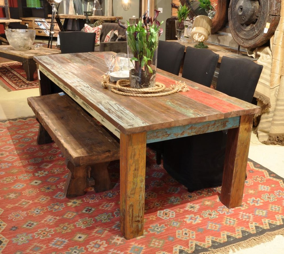Inspiration for a large rustic kitchen/dining room combo remodel in New York
