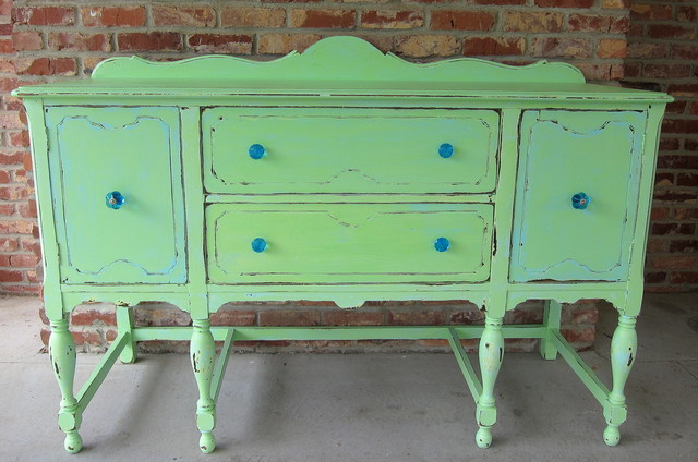 Vintage Sideboard makeover using a seven step paint process.  eclectic-dining-room - Vintage Sideboard Makeover Using A Seven Step Paint Process