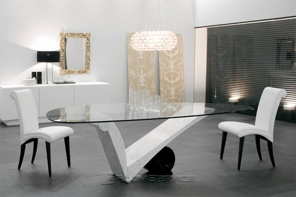 Viola D Amore Contemporary Marble Dining Table