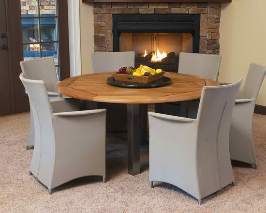 Vogue Apollo 7 pc Dining Set - The combination of the attractive Apollo Chairs with our Vogue 5' Round Table made of stainless steel and teak compliments any space indoors or out.