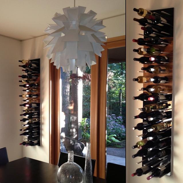 Almaden Kitchen: Wall-mounted WIne Wall Rack In Piano Black High-gloss