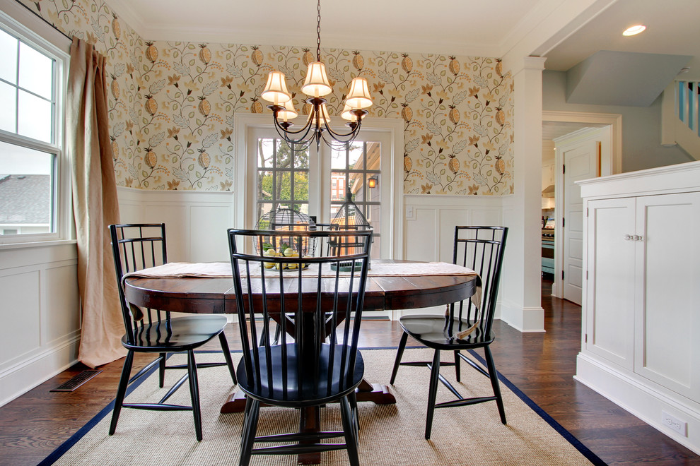 Dining room - country dark wood floor dining room idea in Seattle with multicolored walls