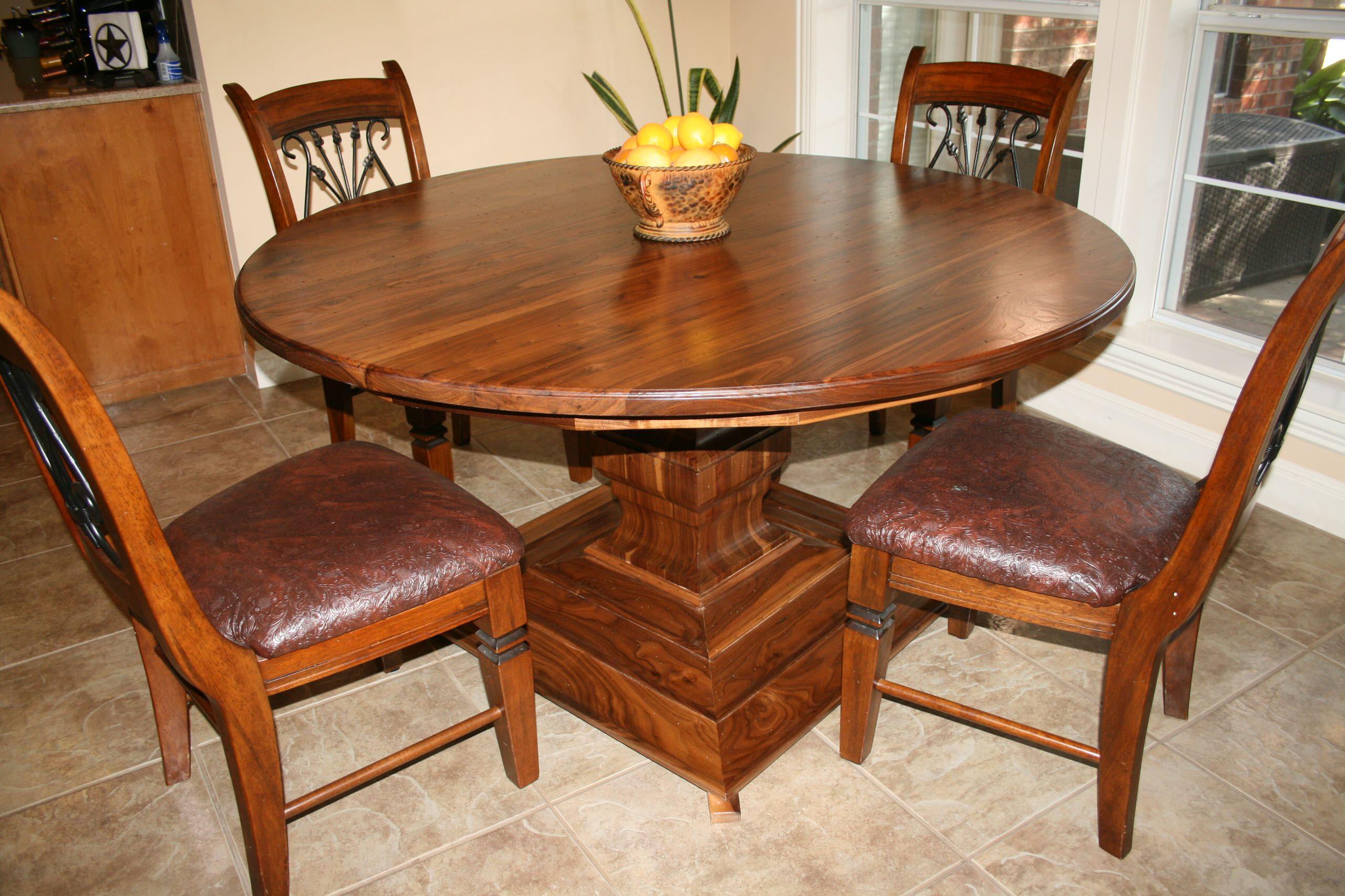 "Walnut 60"" Pedestal table"