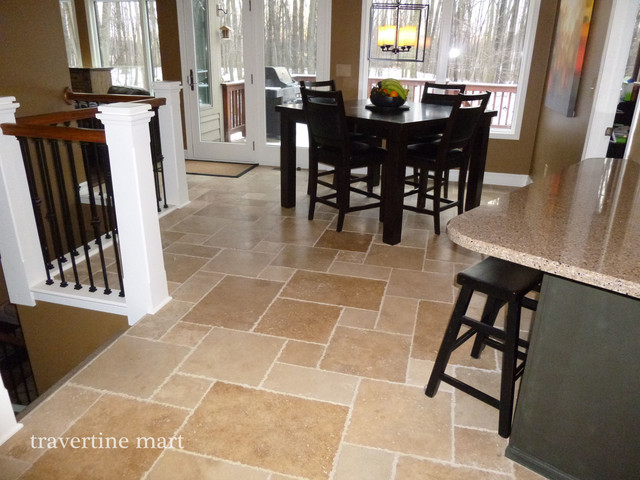 Walnut Brushed Chiseled Travertine Tile Flooring Tiles Traditional Dining Room