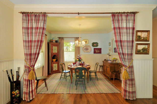 Curtain Design Ideas exquisite bay window curtain design ideas window curtains design ideas window curtain design ideas window design Inspiration For A Farmhouse Dining Room Remodel In San Francisco With Yellow Walls