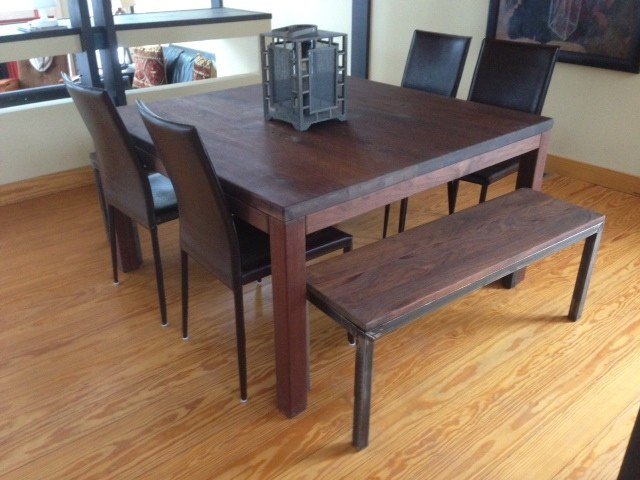 walnut dining table with steel frame bench transitional dining room