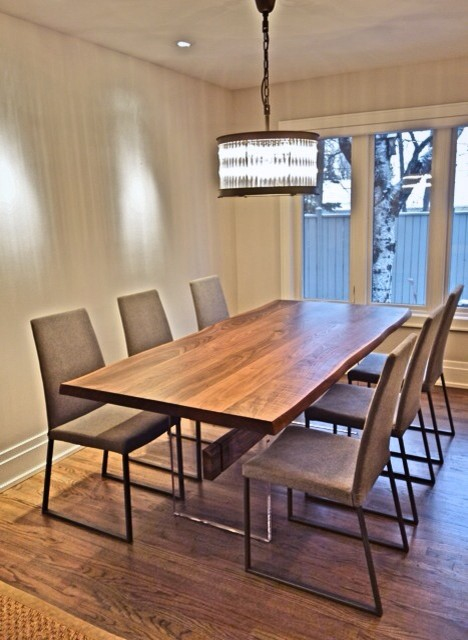 Walnut plexi dining contemporary dining room calgary for Modern dining chairs calgary