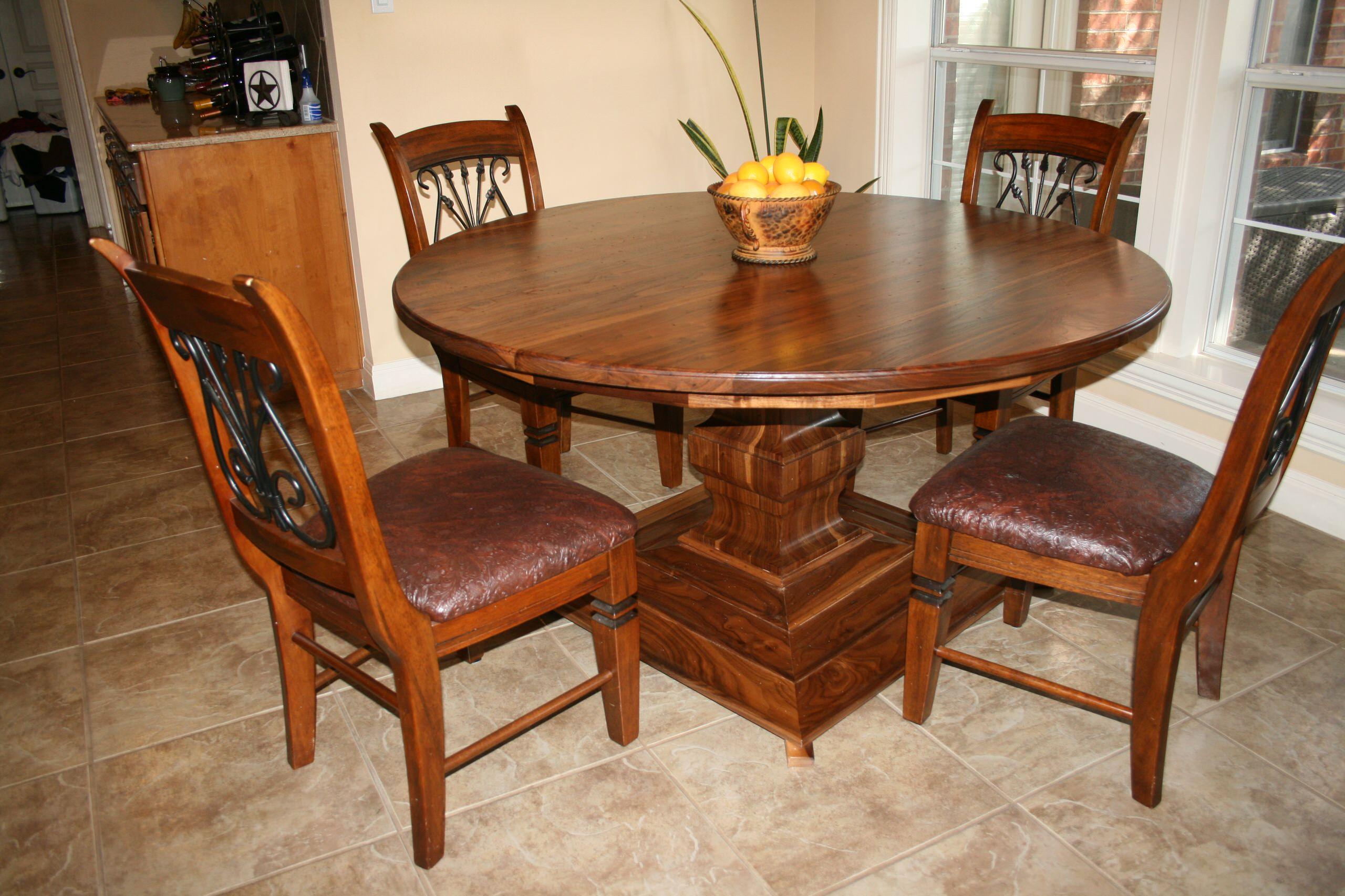 Walnut Round Table with Pedestal